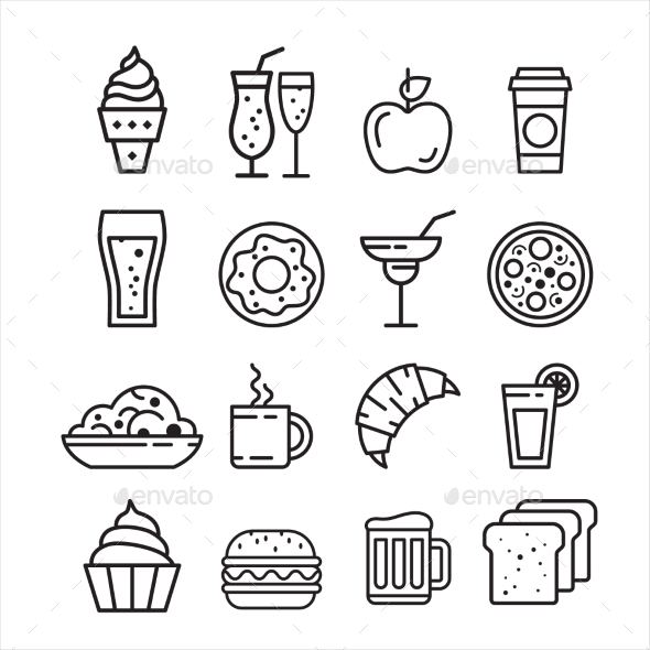 Fast Junk Food Icons Set  - Food Objects