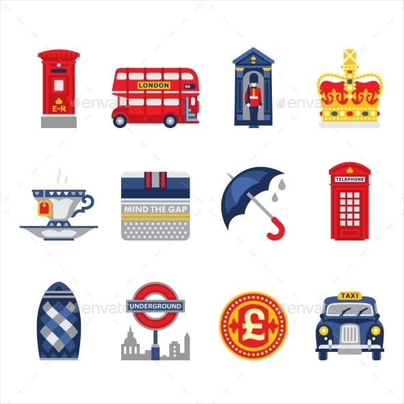 London and England Icon Set - Decorative Symbols Decorative