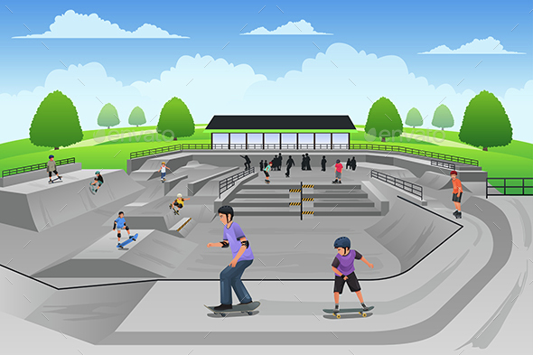 People Playing Skateboard - Sports/Activity Conceptual