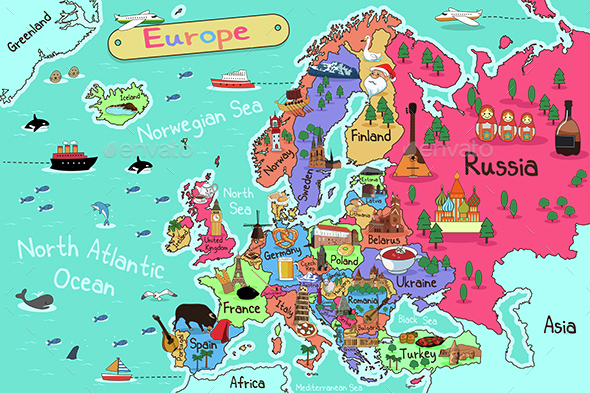 Europe Map - Travel Conceptual