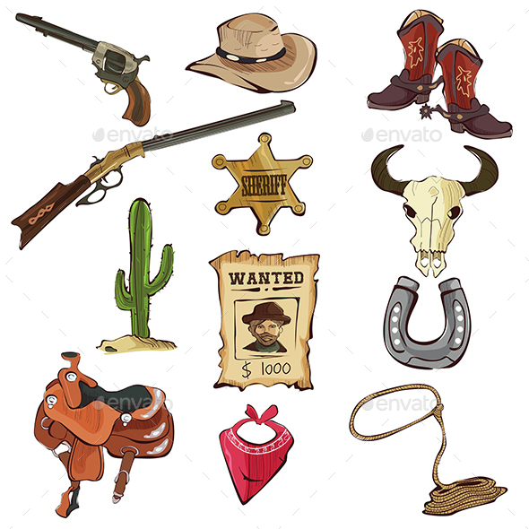 American Old Western Icons - Miscellaneous Vectors