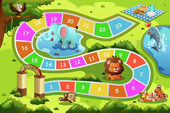 Board Game in Animal Theme - Backgrounds Decorative