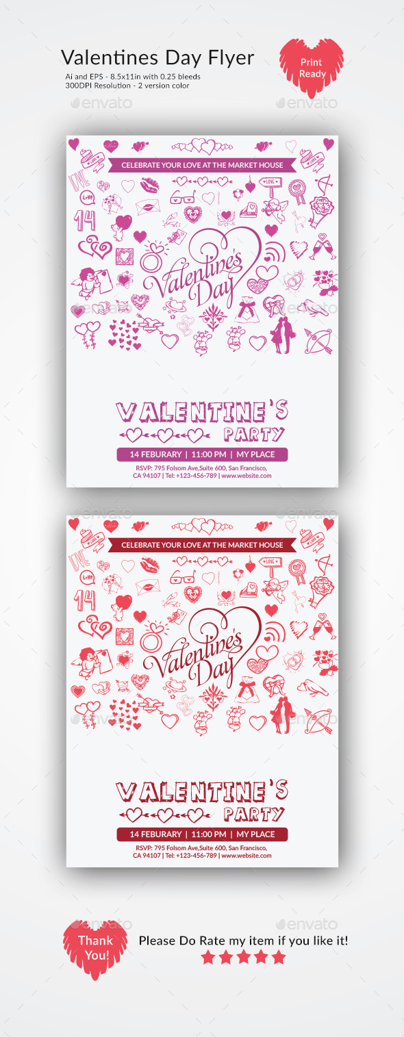 Valentine's Day Party  Flyer - Events Flyers