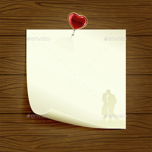 Paper with Heart on Wooden Background - Valentines Seasons/Holidays