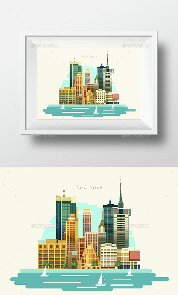 City Flat Skyline Modern Art Design Illustration - Travel Conceptual