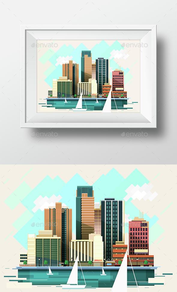 NY Modern Flat City Illustration - Buildings Objects