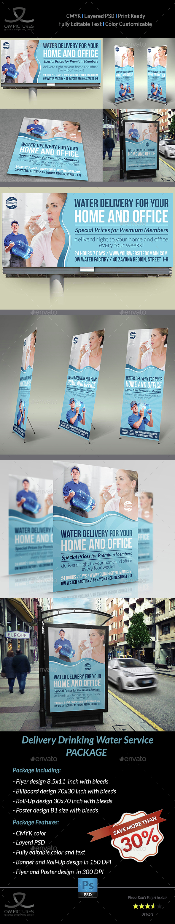 Delivery Drinking Water Service Advertising Bundle - Signage Print Templates