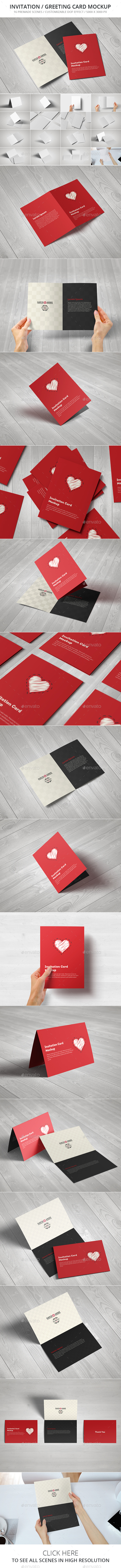 Invitation / Greeting Card / A5 Brochure Mockup - Brochures Print