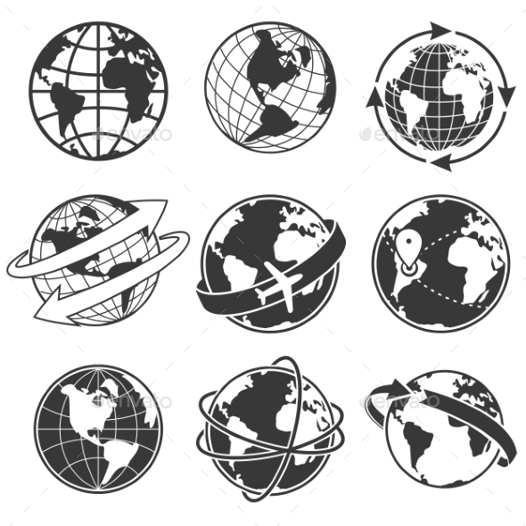 Globe Concept Illustration Set - Miscellaneous Vectors