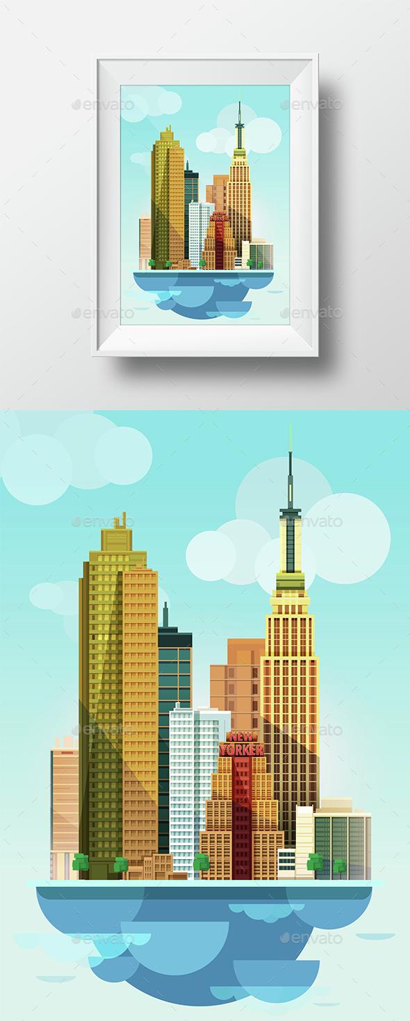 City Illustration New York Flat Design  - Travel Conceptual