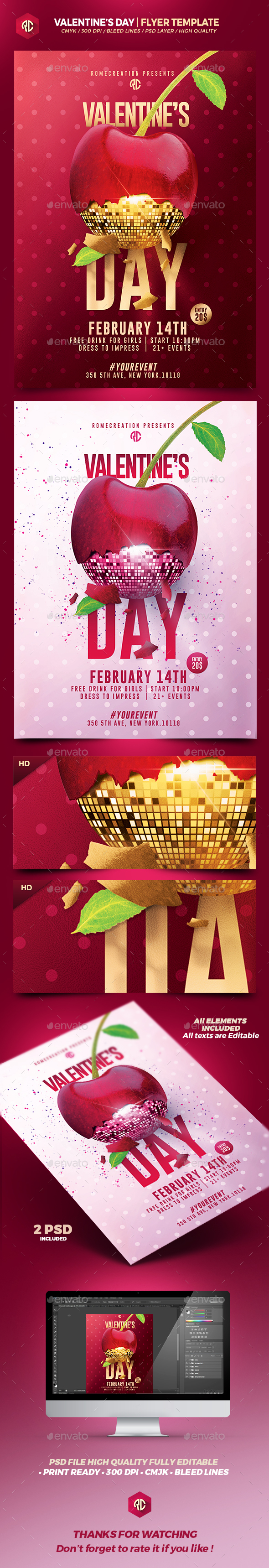 Valentine's Day | 2 Psd Flyer Templates - Flyers Print Templates