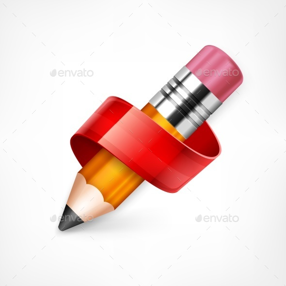 Pencil with Red Ribbon - Miscellaneous Vectors