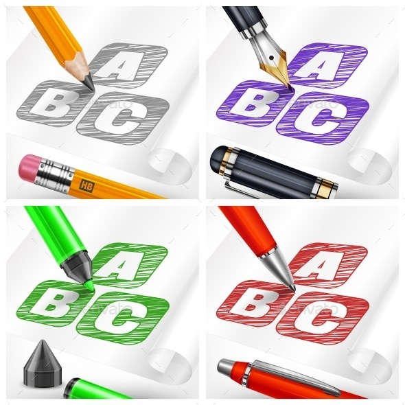 Hand Draw Sketch Letters and Pens  - Miscellaneous Vectors