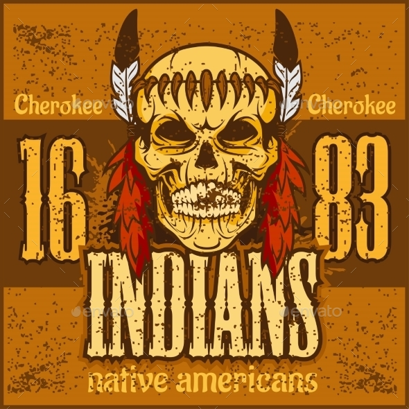 American Native Chief Skull Vintage Design - Decorative Symbols Decorative