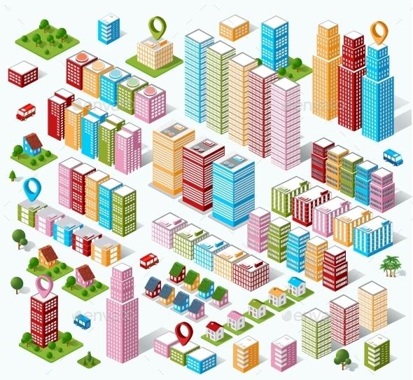 Large Set - Buildings Objects