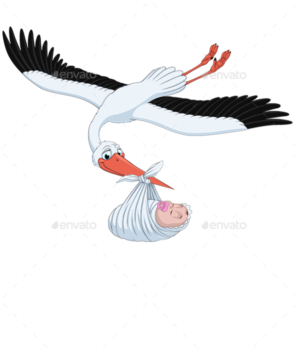 Stork and Baby - Animals Characters
