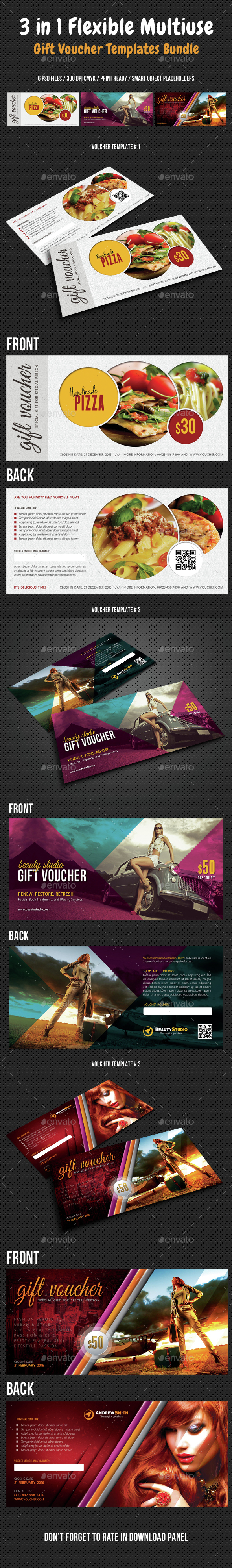 3 in 1 Flexible Multiuse Gift Voucher Bundle 02 - Cards & Invites Print Templates