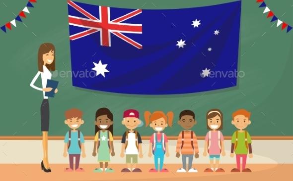 Teacher School Holding Australia Flag Children - People Characters