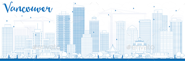 Outline Vancouver Skyline with Blue Buildings - Buildings Objects