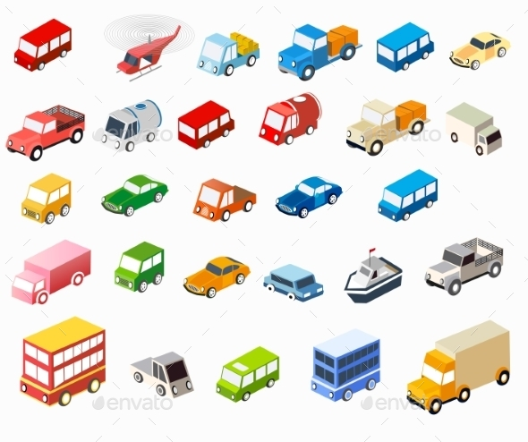 Isometric Flat Cars - Travel Conceptual