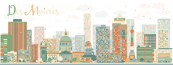 Abstract Des Moines Skyline with Color Buildings - Buildings Objects