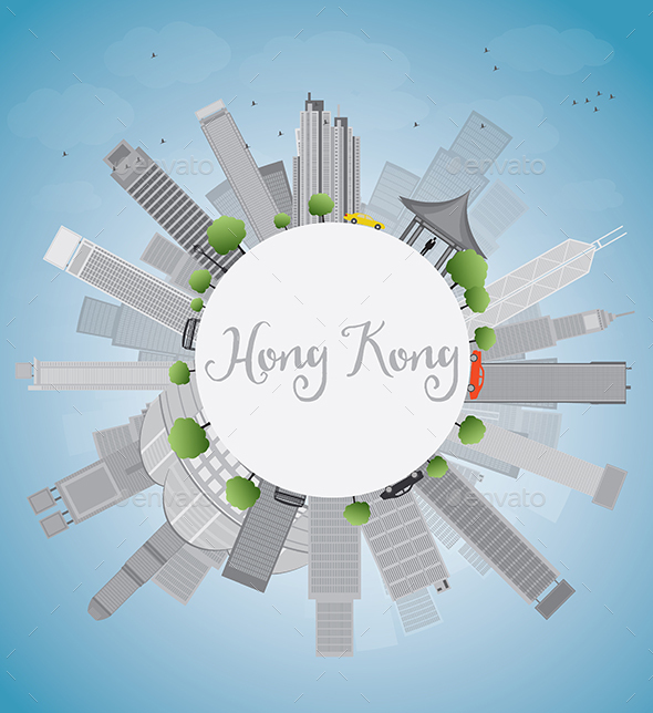 Hong Kong Skyline with Blue Sky - Buildings Objects