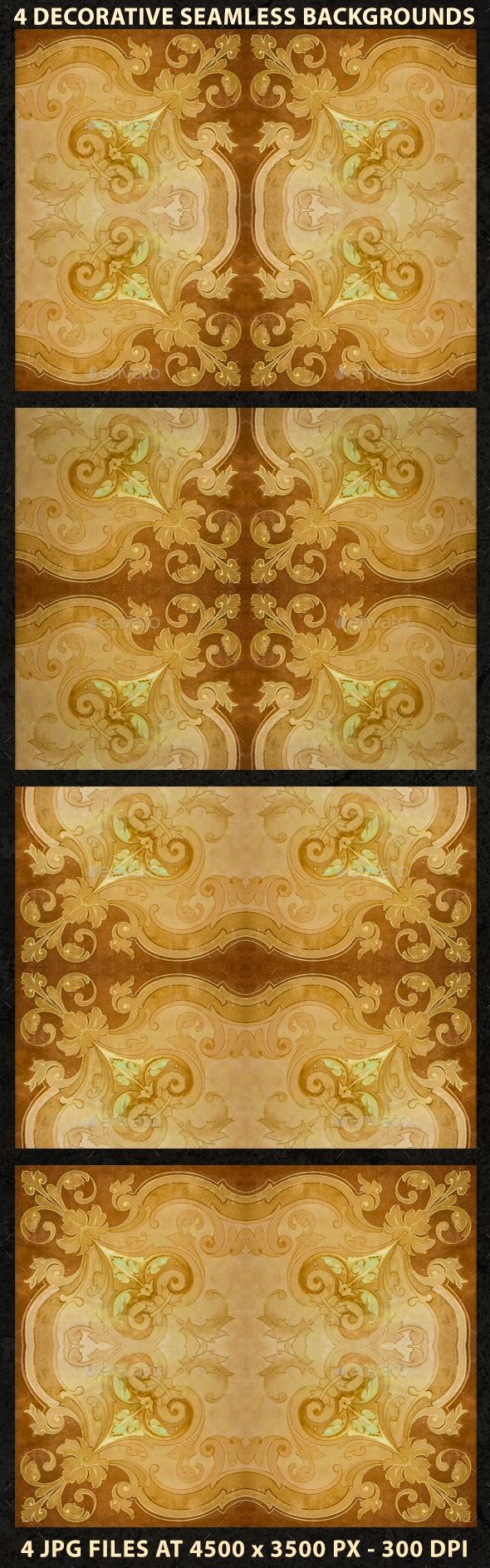 4 Ornate Decorative Seamlesss Backgrounds - Backgrounds Decorative