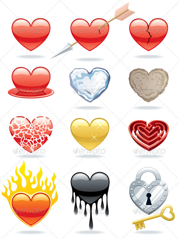 Heart Icons - Web Elements Vectors