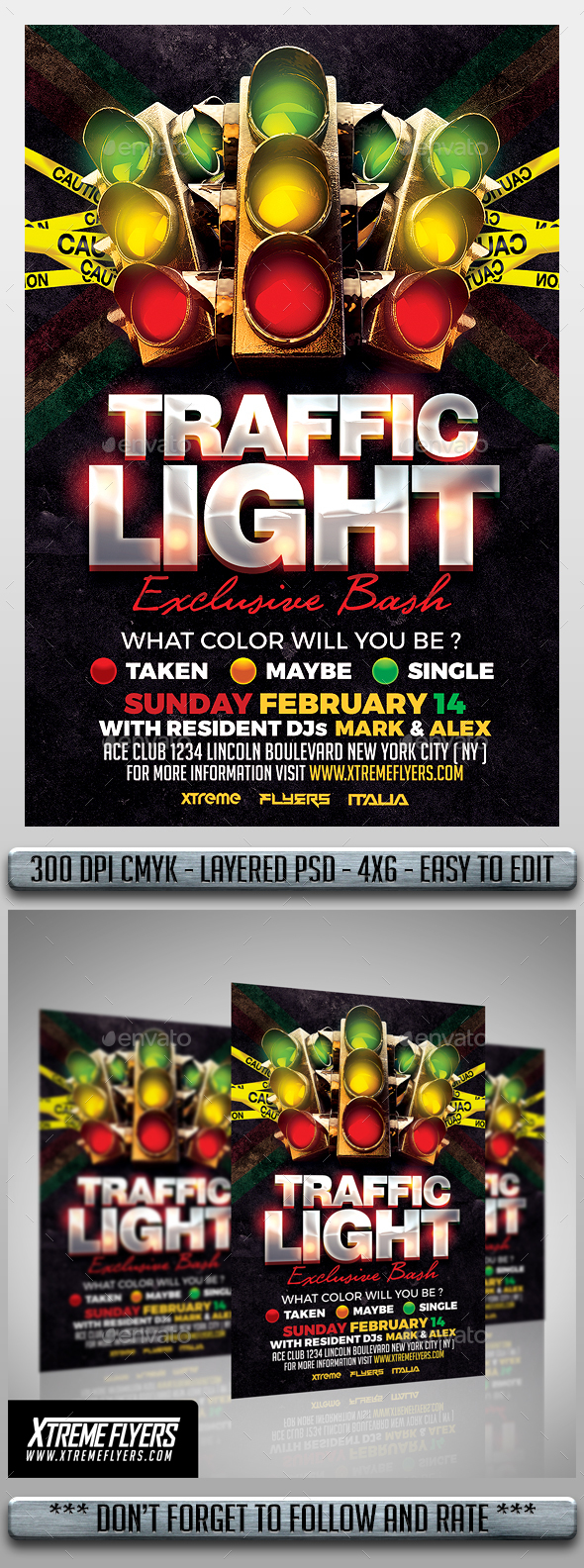 Traffic Light Flyer - Clubs & Parties Events