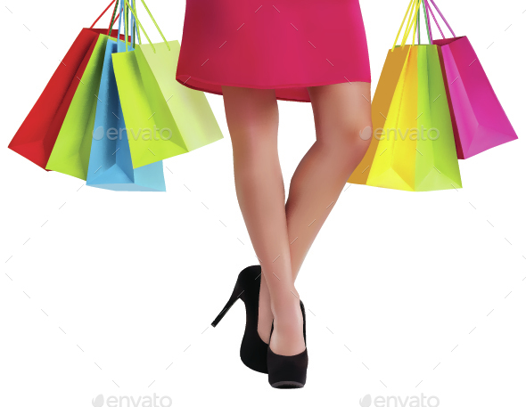 Waist-Down View of Shopping Woman - Retail Commercial / Shopping