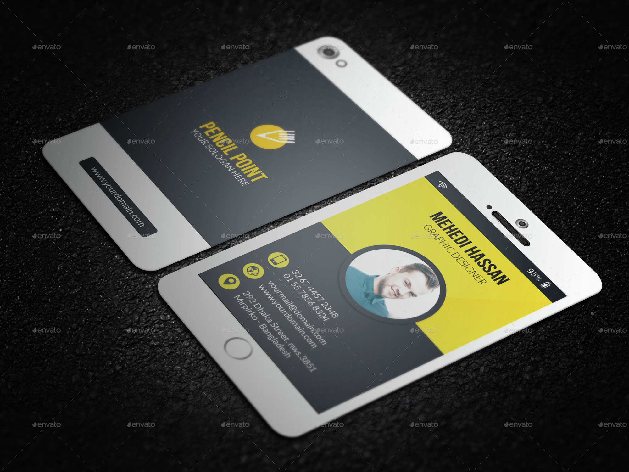 Phone Business Card by Mehedi__Hassan | GraphicRiver