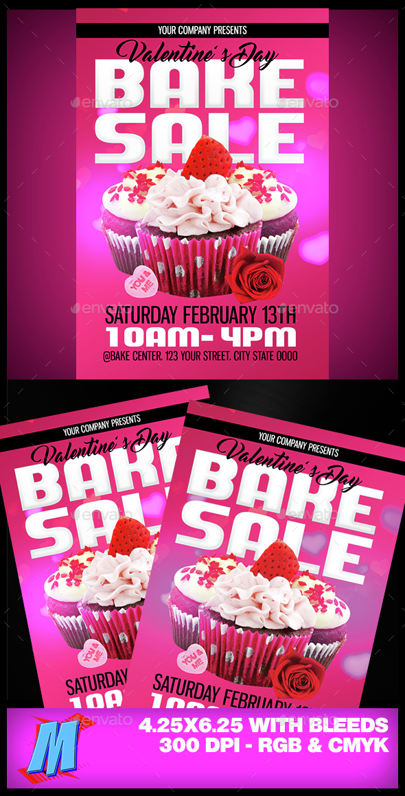 Valentines Bake Sale Flyer Template By Megakidgfx | Graphicriver