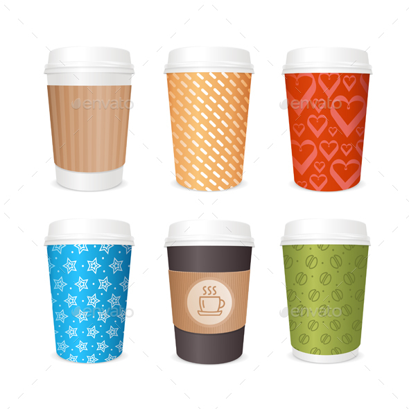 Coffee Cups Template Set - Man-made Objects Objects