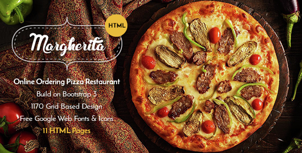 Margherita – Online Ordering Pizza Restaurant HTML