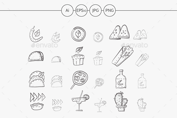 Sketch icons vector collection for mexican food - Food Objects