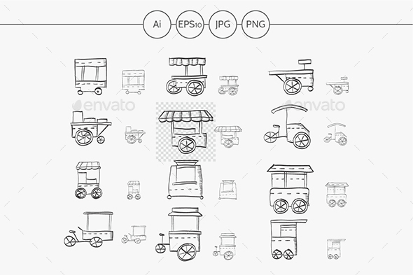 Sketch icons vector collection for food trolley - Objects Icons