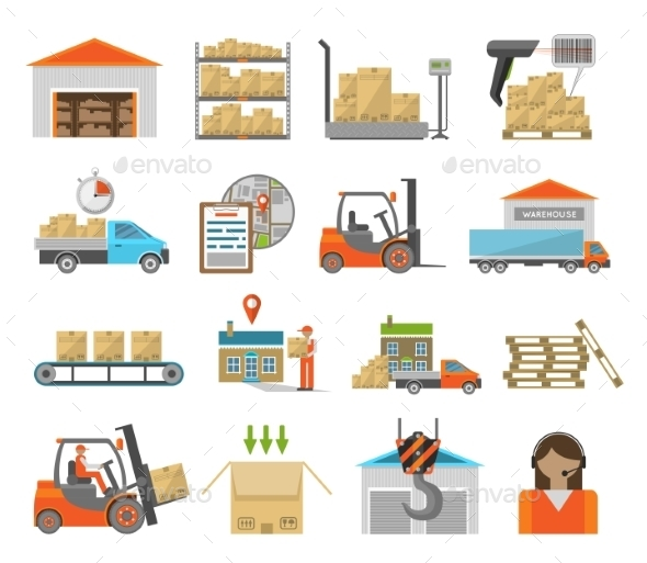 Warehouse Transportation Set - Miscellaneous Icons