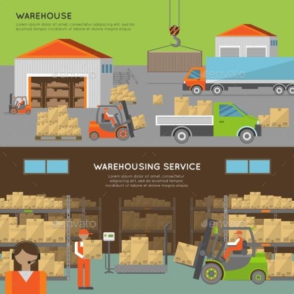 Warehouse Transportation Banners - Miscellaneous Vectors