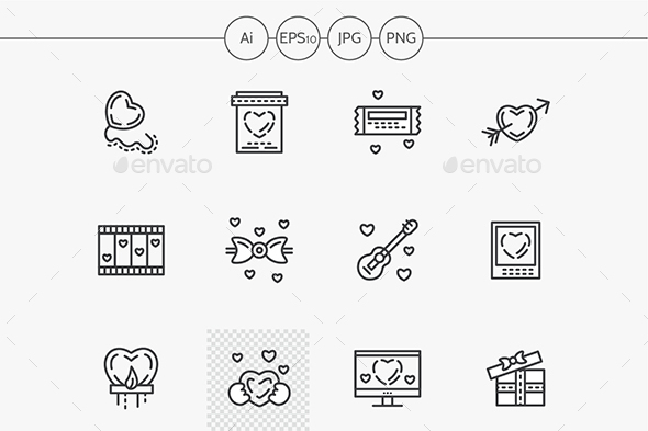 Valentines Day flat line vector icons set - Miscellaneous Icons