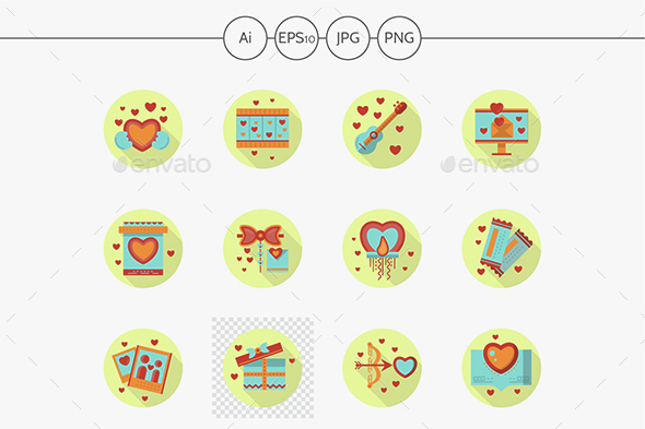 Romantic event flat color round vector icons - Seasonal Icons