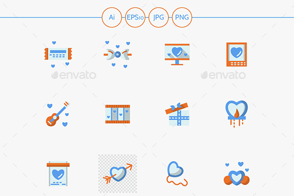 Vector collection of love greeting flat icons - Media Icons