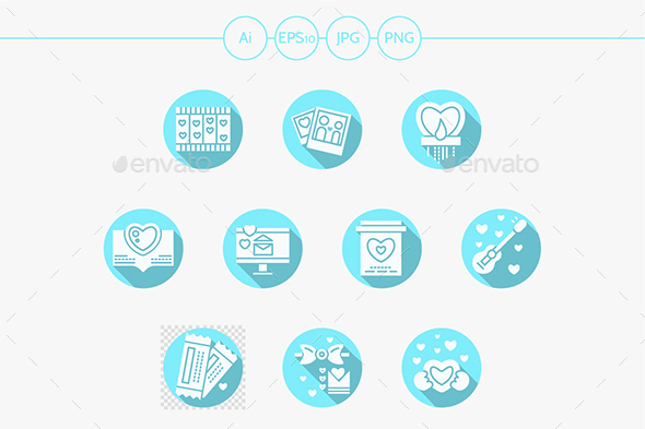 Valentines Day party blue round vector icons - Seasonal Icons