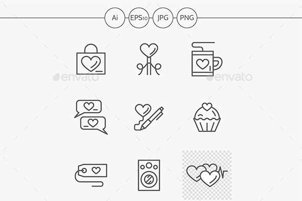 Romantic greetings flat line vector icons set - Miscellaneous Icons