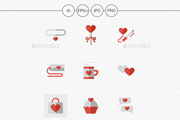 Flat color love relationship  icons  - Miscellaneous Icons