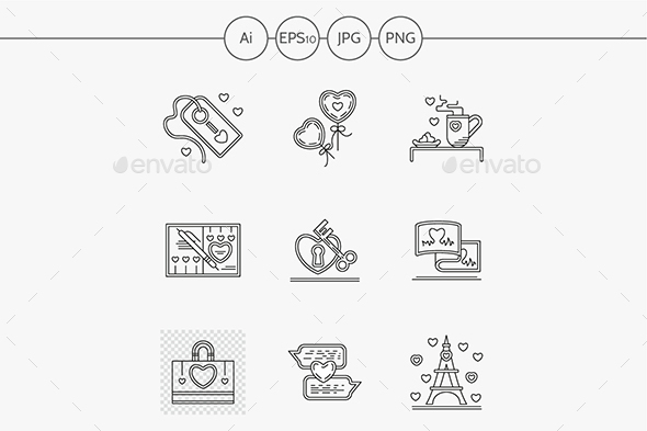 Greetings for Valentines Day line icons - Miscellaneous Icons