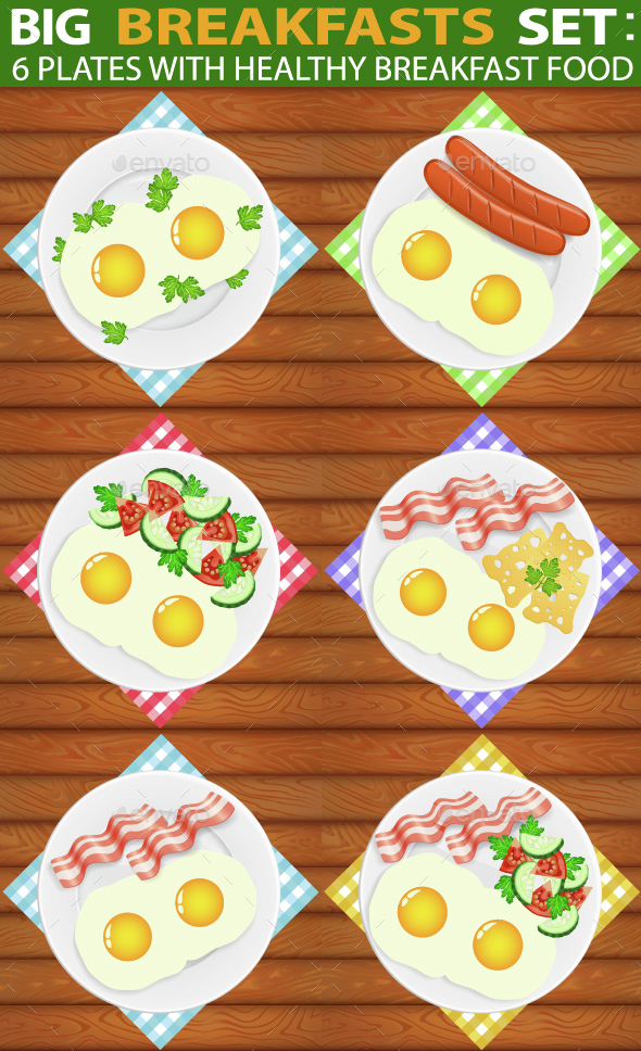 Breakfasts Set 6 Types of Breakfast Food - Food Objects