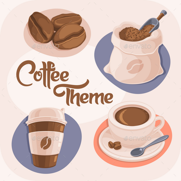 4 Coffee Theme Icons - Food Objects