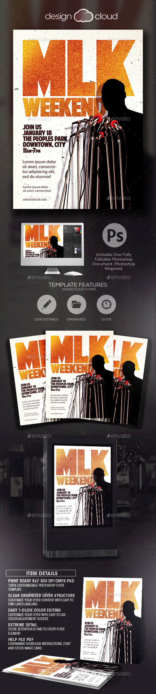 MLK Weekend Flyer Template - Holidays Events