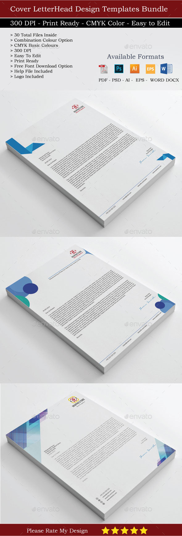 30 Crporate Letterhead Bundle - Stationery Print Templates