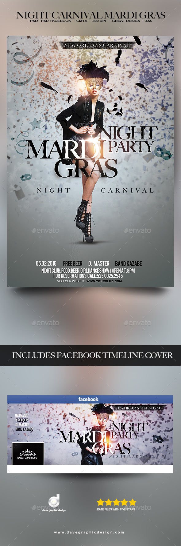 Flyer Night Carnival Mardi Gras - Clubs & Parties Events